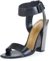 Tom Ford Leather Ankle-Strap 105mm Sandal, Black
