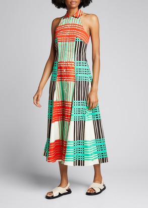 Borgo de Nor Ida Check Sleeveless Cotton Poplin Midi Dress