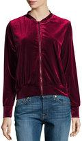 Hazel Velvet Bomber Jacket w/ Embroidered Back, Dark Red