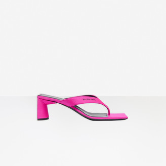 Balenciaga Double Square 60mm Open Back Sandal in pink spandex