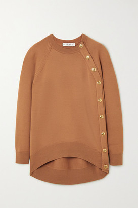Givenchy Oversized Button-embellished Wool Sweater - Beige
