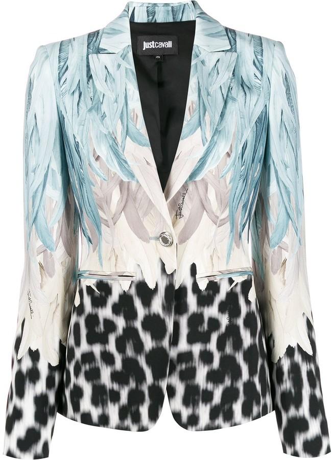 Just Cavalli leopard feather-print single breasted blazer