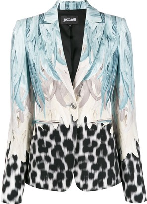 Just Cavalli leopard feather-print single breasted blazer