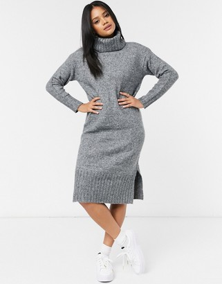 New Look knitted roll neck midi sweater dress in gray
