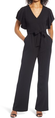 Eliza J Pleated Flutter Sleeve Scuba Crepe Jumpsuit