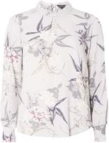 Dorothy Perkins Grey Floral High Neck Blouse