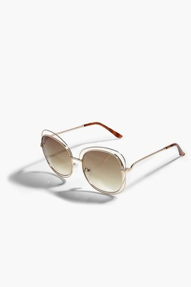 boohoo Oversized Metal Wire Framed Sunglasses