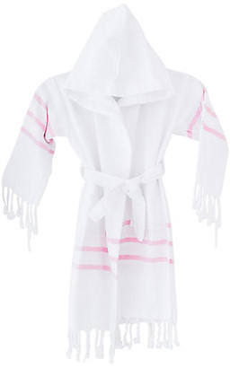 Turkish T Kids' Spa Bathrobe - White/Pink small