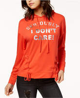 Pretty Rebellious Juniors' Don't Care Lace-Up Graphic Hoodie