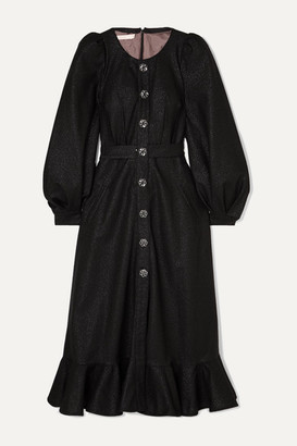 ANNA MASON Phoebe Metallic Crepe Midi Dress - Black