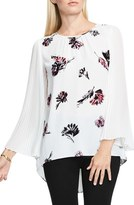 Vince Camuto Women's Floral Print Pleat Sleeve Blouse