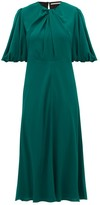 Emilia Wickstead Magnolia Puff-sleeve Georgette Midi Dress - Womens - Dark Green