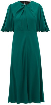 Emilia Wickstead Magnolia Puff-sleeve Georgette Midi Dress - Dark Green