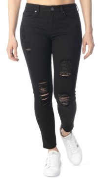 Almost Famous Juniors' High-Rise Destructed Skinny Ankle Jeans