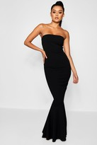 boohoo Bandeau Fitted Fishtail Maxi Bridesmaid Dress