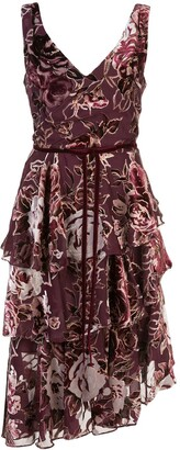 Marchesa Floral Printed Asymmetric Dress