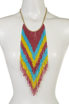 Natasha Accessories Multicolor Beaded Fringe Necklace