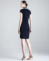 Escada Sashika Cap-Sleeve Dress with Scarf