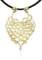 Orlando Orlandini Scintille - Diamond Drop 18K Yellow Gold Net Necklace