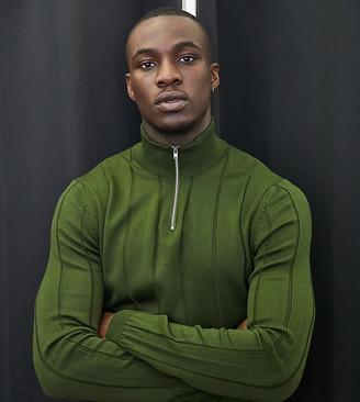 ASOS DESIGN Tall knitted wide rib half zip jumper in khaki