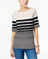 Karen Scott Striped Boat-Neck T-Shirt, Only at Macy's