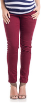 Burgundy Mid-Belly Maternity Skinny Jeans