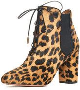 Aquazzura Victoria Calf-Hair Fur Bootie, Camel Leopard