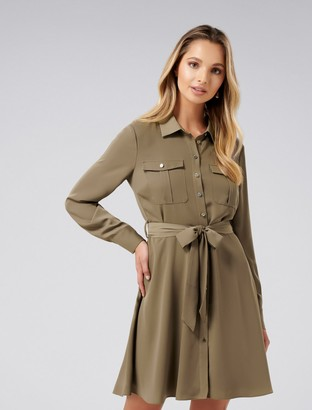 Forever New Liliana Flippy Shirt Dress - Clay Green - 18