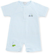Kissy Kissy Mini Golf Striped Pima Shortall, Light Blue, Size 3-24 Months