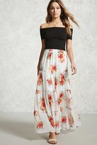 Forever 21 Floral Tiered Seam Maxi Skirt