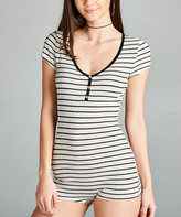 Umgee USA Ash & Black Stripe Button-Front Bodysuit