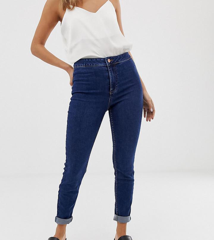 New Look high waist skinny jean in mid blue