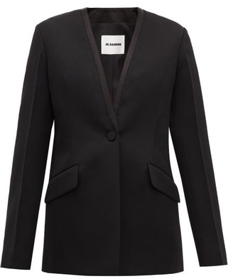 Jil Sander P.m. Collarless Wool Tuxedo Jacket - Black