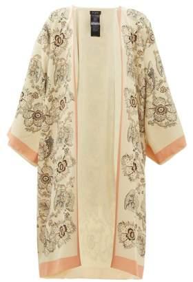 Etro Floral Print Silk Crepe Kimono Style Jacket - Womens - Beige Multi