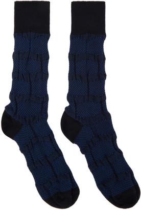 Issey Miyake Navy Geometric Socks