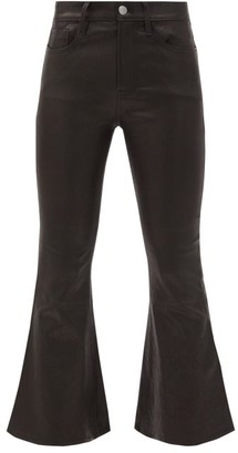 Frame Cropped Kick-flare Leather Trousers - Womens - Black