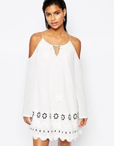 Moon River Open Shoulder Dress with Scalloped Trim