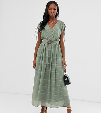 Asos Tall DESIGN Tall wrap front maxi dress with buckle belt in self stripe-Green