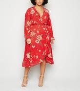 New Look Mela Curves Floral Wrap Midi Dress