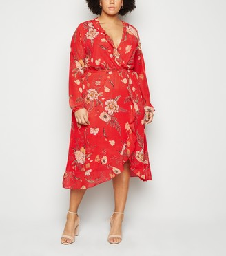 New Look Mela Curves Floral Wrap Midi Dress