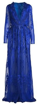 Pamella Roland 3D Floral Lace Gown