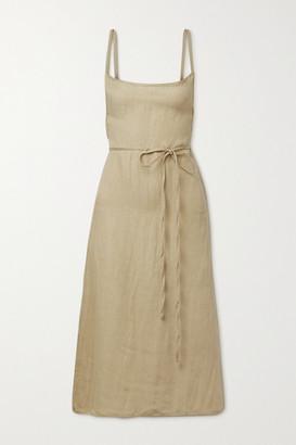 Anemos Net Sustain The K.m. Linen And Cupro-blend Midi Dress - Beige