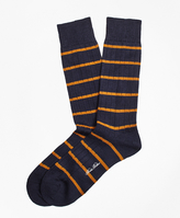 Brooks Brothers Merino Wool Stripe Crew Socks
