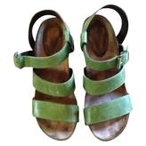 Balenciaga Green Leather Sandals