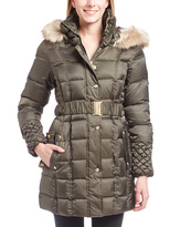 Betsey Johnson Forest Green Faux Fur-Trim Belted Puffer Jacket