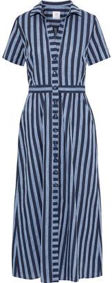 Gül Hürgel Pleated Striped Cotton And Linen-blend Midi Shirt Dress