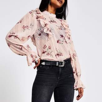 River Island Womens Petite Pink floral frill sleeve blouse