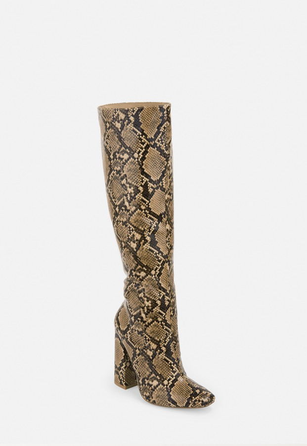 Missguided Beige Snake Print Calf Height Heeled Boots