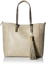 T-Shirt & Jeans Tote with Tassel and Printed Straps