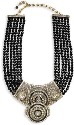 Heidi Daus Silvertone, Rhinestone & Beaded Double Circle Necklace